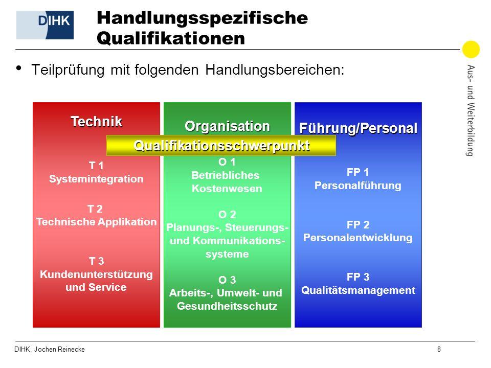 DIHK, Jochen Reinecke 8 Handlungsspezifische Qualifikationen Teilprüfung mit folgenden Handlungsbereichen: Technik T 1 Systemintegration T 2 Technisch