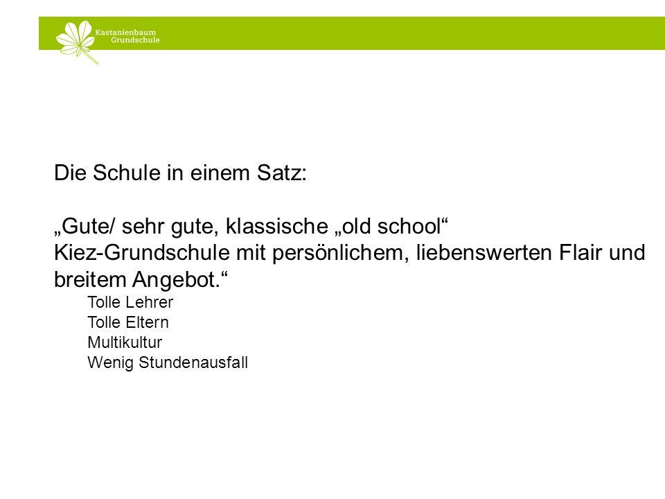 Die Schule in einem Satz: Gute/ sehr gute, klassische old school Kiez-Grundschule mit persönlichem, liebenswerten Flair und breitem Angebot. Tolle Leh