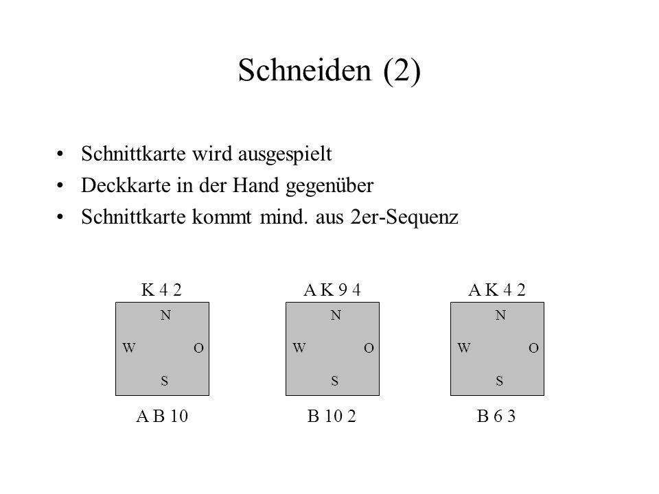 Schneiden (2) Schnittkarte wird ausgespielt Deckkarte in der Hand gegenüber Schnittkarte kommt mind. aus 2er-Sequenz N W S O K 4 2 A B 10 N W S O A K