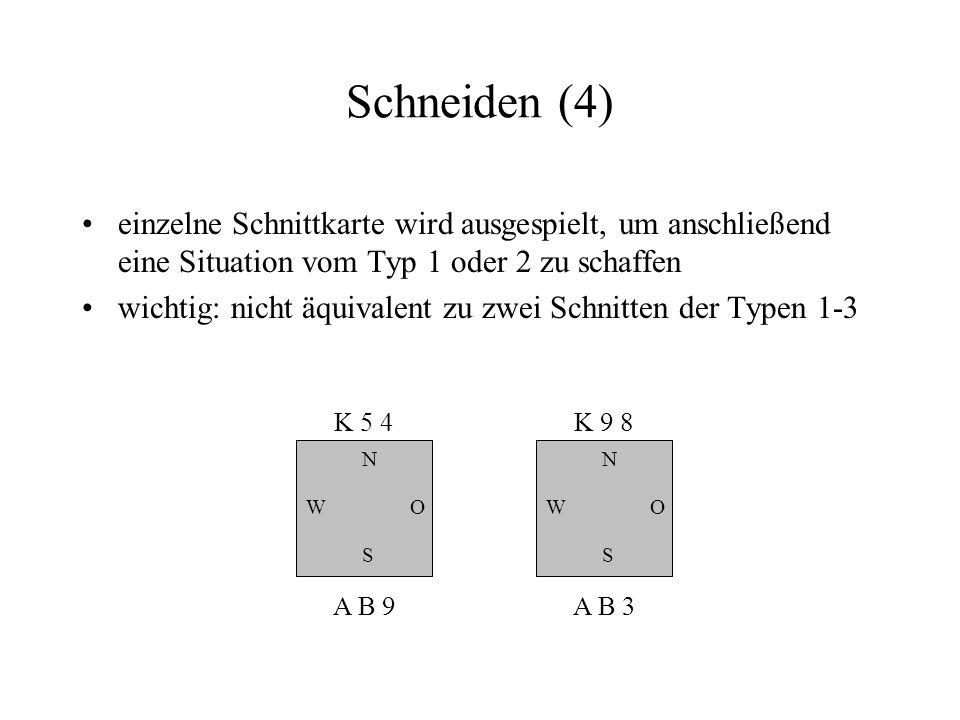 Schneiden (4) einzelne Schnittkarte wird ausgespielt, um anschließend eine Situation vom Typ 1 oder 2 zu schaffen wichtig: nicht äquivalent zu zwei Sc