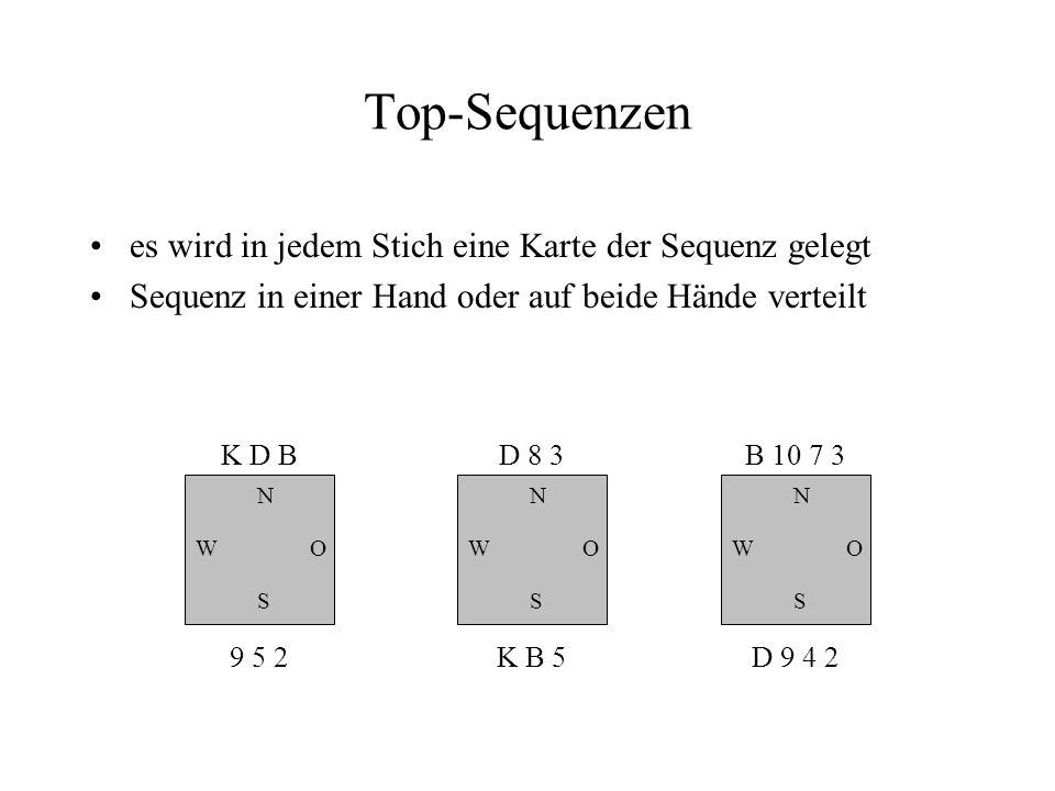 Top-Sequenzen es wird in jedem Stich eine Karte der Sequenz gelegt Sequenz in einer Hand oder auf beide Hände verteilt N W S O K D B 9 5 2 N W S O D 8