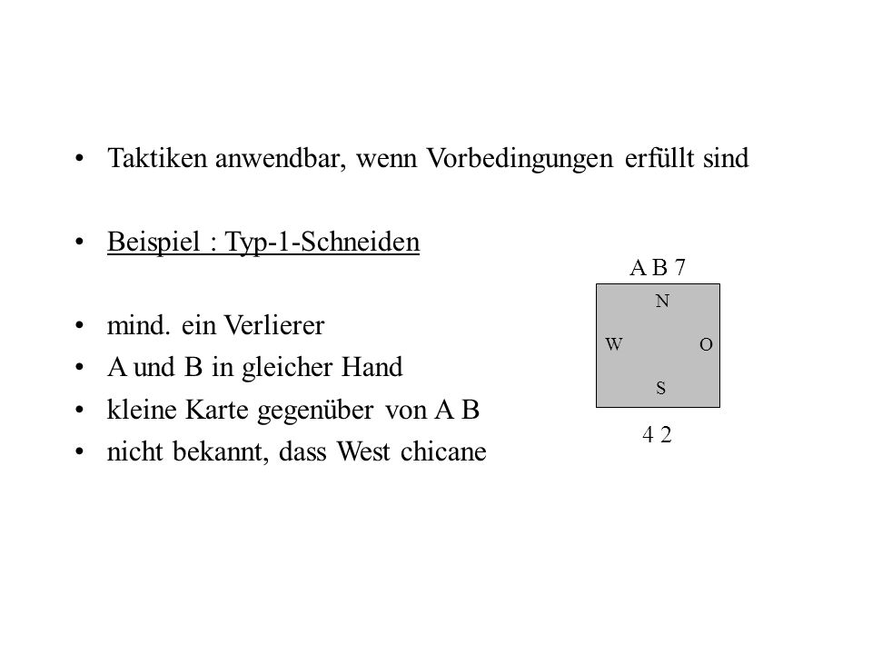 Taktiken anwendbar, wenn Vorbedingungen erfüllt sind Beispiel : Typ-1-Schneiden mind. ein Verlierer A und B in gleicher Hand kleine Karte gegenüber vo