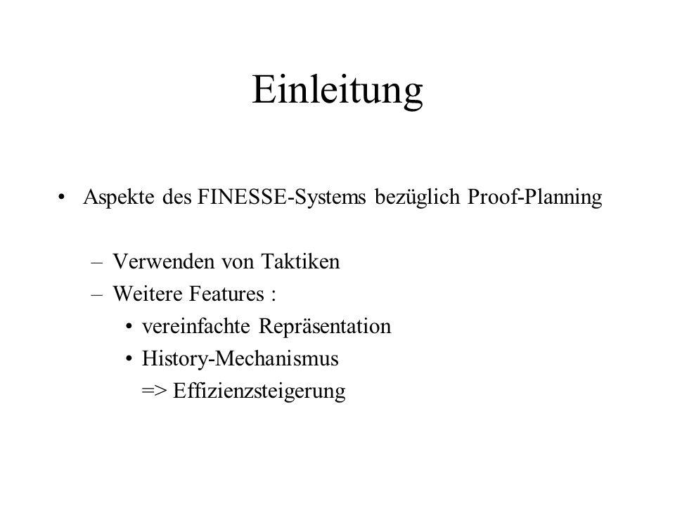 Einleitung Aspekte des FINESSE-Systems bezüglich Proof-Planning –Verwenden von Taktiken –Weitere Features : vereinfachte Repräsentation History-Mechan