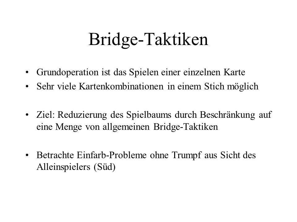 Bridge-Taktiken Grundoperation ist das Spielen einer einzelnen Karte Sehr viele Kartenkombinationen in einem Stich möglich Ziel: Reduzierung des Spiel