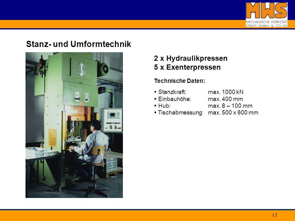 17 Stanz- und Umformtechnik 2 x Hydraulikpressen 5 x Exenterpressen Technische Daten: max. 1000 kN max. 400 mm max. 8 – 100 mm max. 500 x 600 mm Stanz