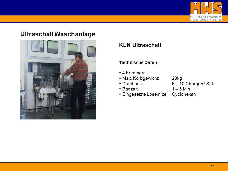 22 Ultraschall Waschanlage KLN Ultraschall Technische Daten: 4 Kammern Max. Korbgewicht: Durchsatz: Badzeit: Eingesetzte Lösemittel: 20kg 6 – 10 Charg