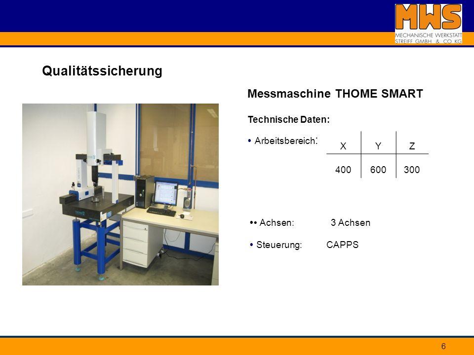 6 Qualitätssicherung Messmaschine THOME SMART XYZ 400600300 Technische Daten: Arbeitsbereich : Achsen: 3 Achsen Steuerung: CAPPS