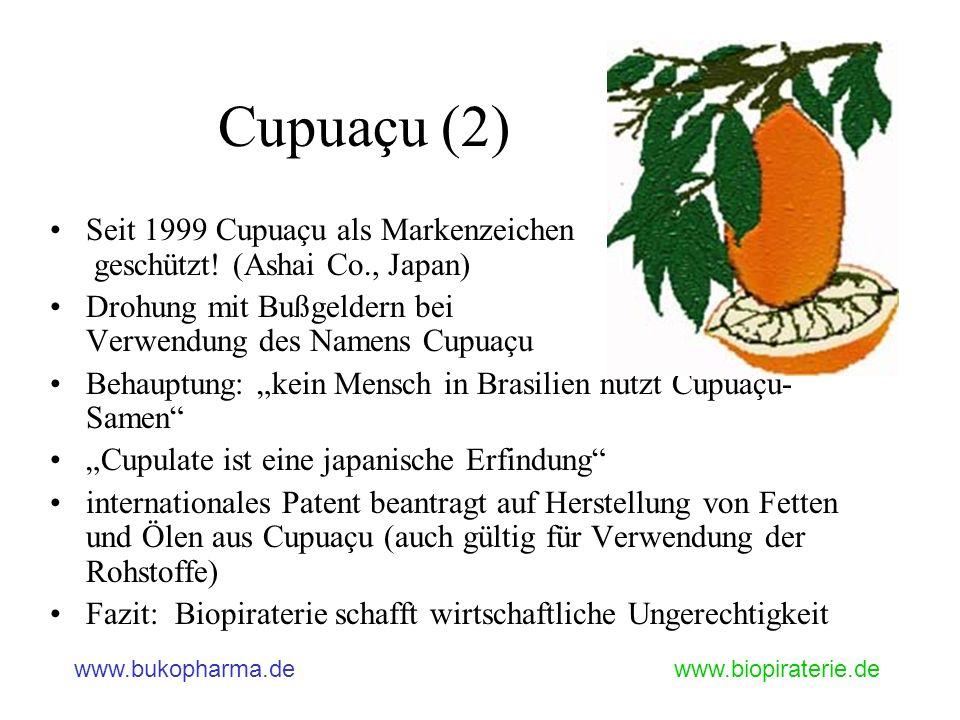 www.bukopharma.dewww.biopiraterie.de Cupuaçu (2) Seit 1999 Cupuaçu als Markenzeichen geschützt! (Ashai Co., Japan) Drohung mit Bußgeldern bei Verwendu