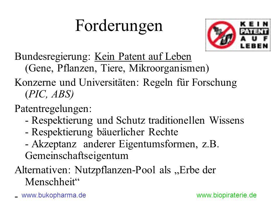 www.bukopharma.dewww.biopiraterie.de Forderungen Bundesregierung: Kein Patent auf Leben (Gene, Pflanzen, Tiere, Mikroorganismen) Konzerne und Universi