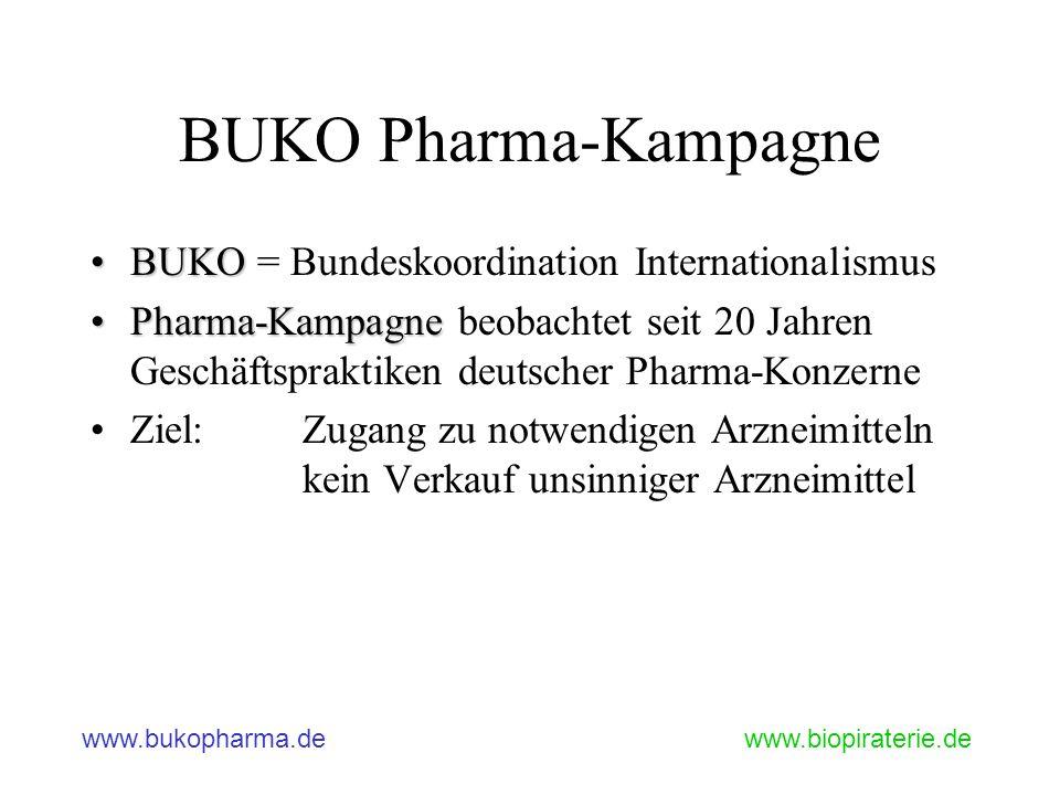 www.bukopharma.dewww.biopiraterie.de BUKO Pharma-Kampagne BUKOBUKO = Bundeskoordination Internationalismus Pharma-KampagnePharma-Kampagne beobachtet s