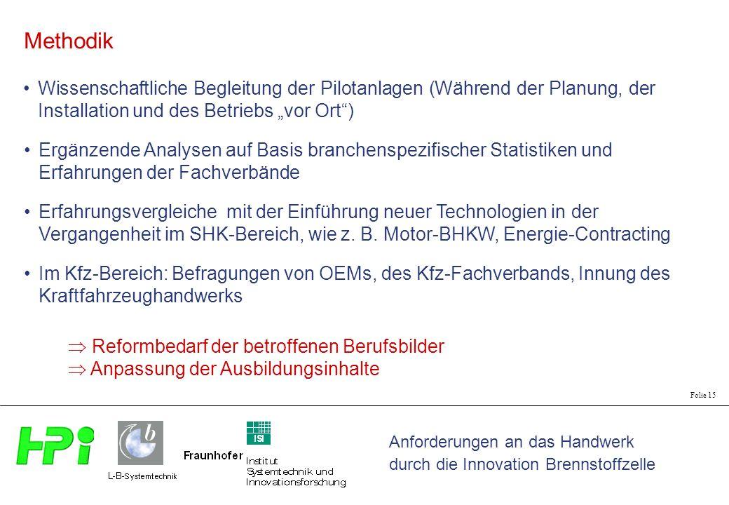 Anforderungen an das Handwerk durch die Innovation Brennstoffzelle Folie 15 Wissenschaftliche Begleitung der Pilotanlagen (Während der Planung, der In
