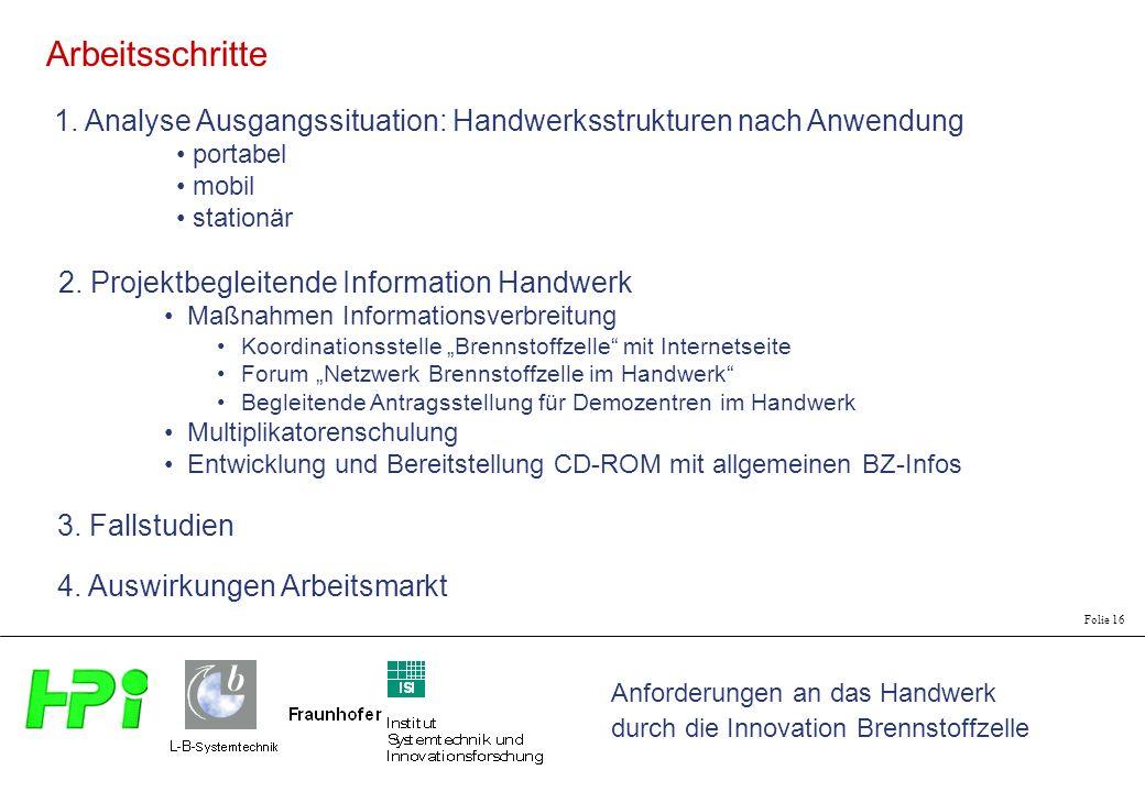 Anforderungen an das Handwerk durch die Innovation Brennstoffzelle Folie 16 1. Analyse Ausgangssituation: Handwerksstrukturen nach Anwendung portabel