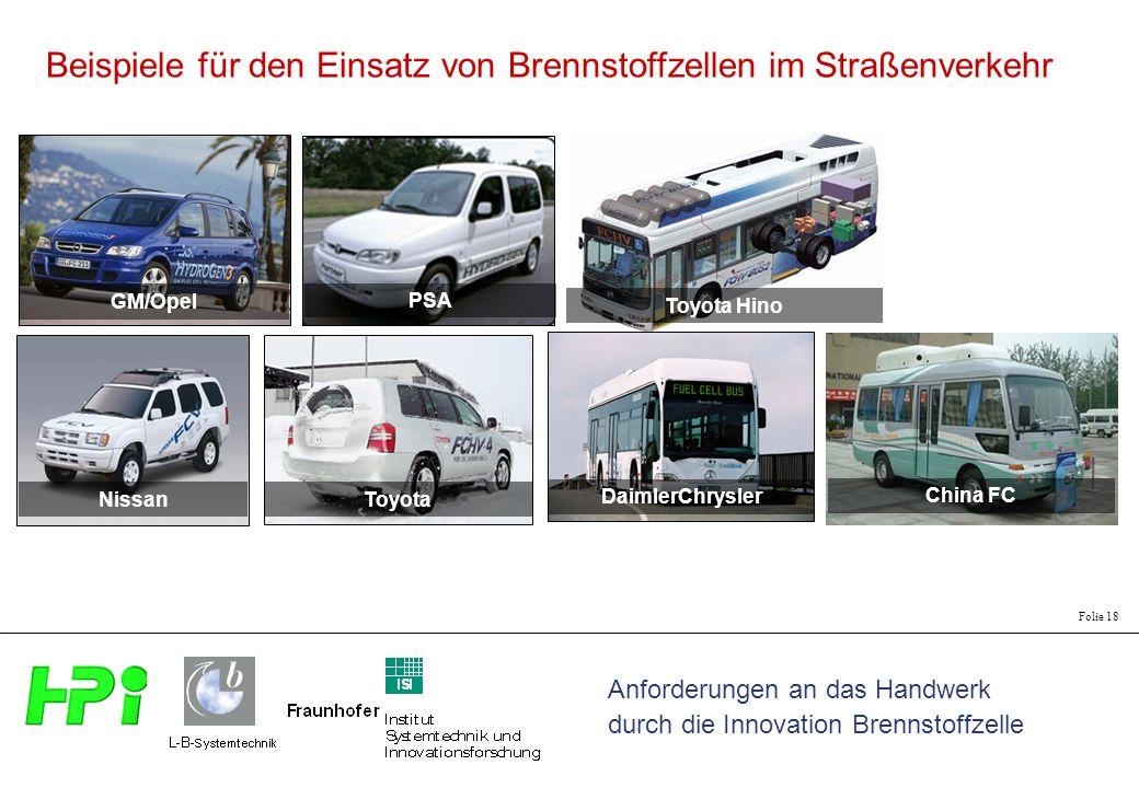 Anforderungen an das Handwerk durch die Innovation Brennstoffzelle Folie 18 China FC Toyota Hino DaimlerChrysler GM/Opel PSA Nissan Toyota Beispiele für den Einsatz von Brennstoffzellen im Straßenverkehr