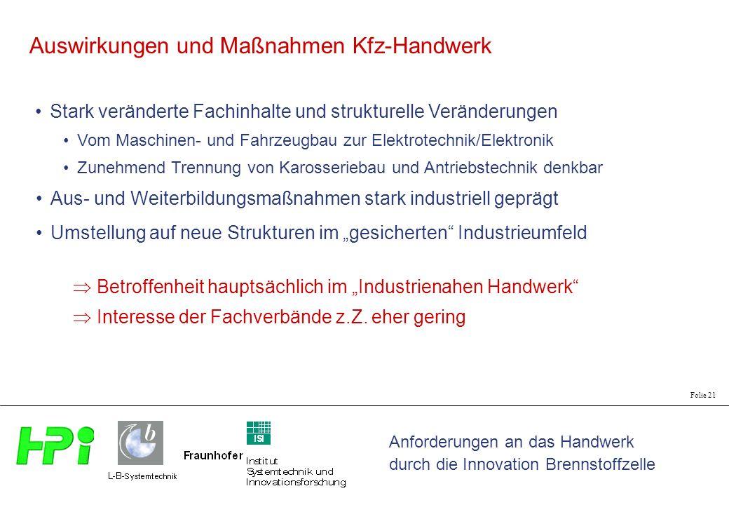 Anforderungen an das Handwerk durch die Innovation Brennstoffzelle Folie 21 Auswirkungen und Maßnahmen Kfz-Handwerk Stark veränderte Fachinhalte und s
