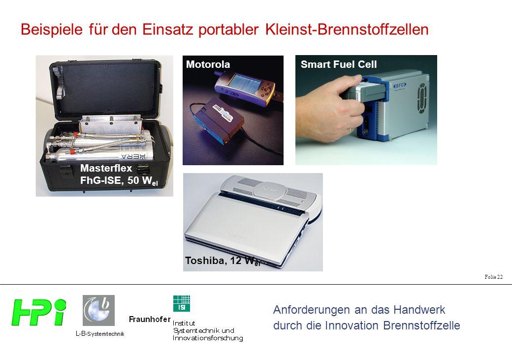 Anforderungen an das Handwerk durch die Innovation Brennstoffzelle Folie 22 Motorola Smart Fuel Cell Toshiba, 12 W el Masterflex FhG-ISE, 50 W el Beispiele für den Einsatz portabler Kleinst-Brennstoffzellen