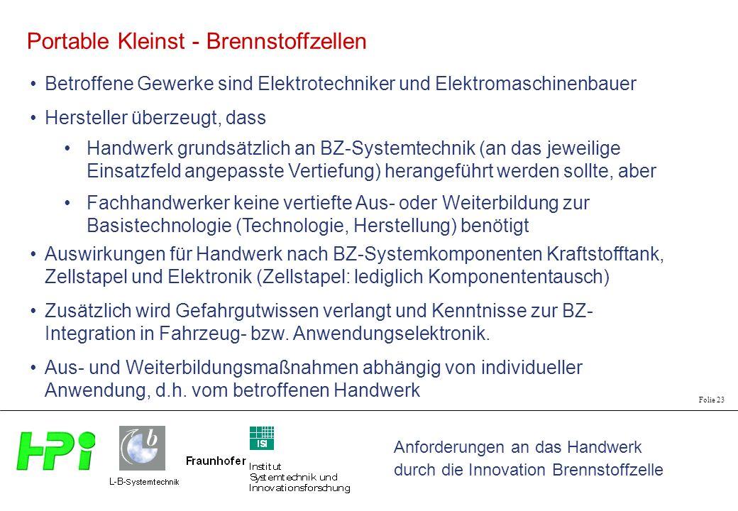 Anforderungen an das Handwerk durch die Innovation Brennstoffzelle Folie 23 Portable Kleinst - Brennstoffzellen Betroffene Gewerke sind Elektrotechnik