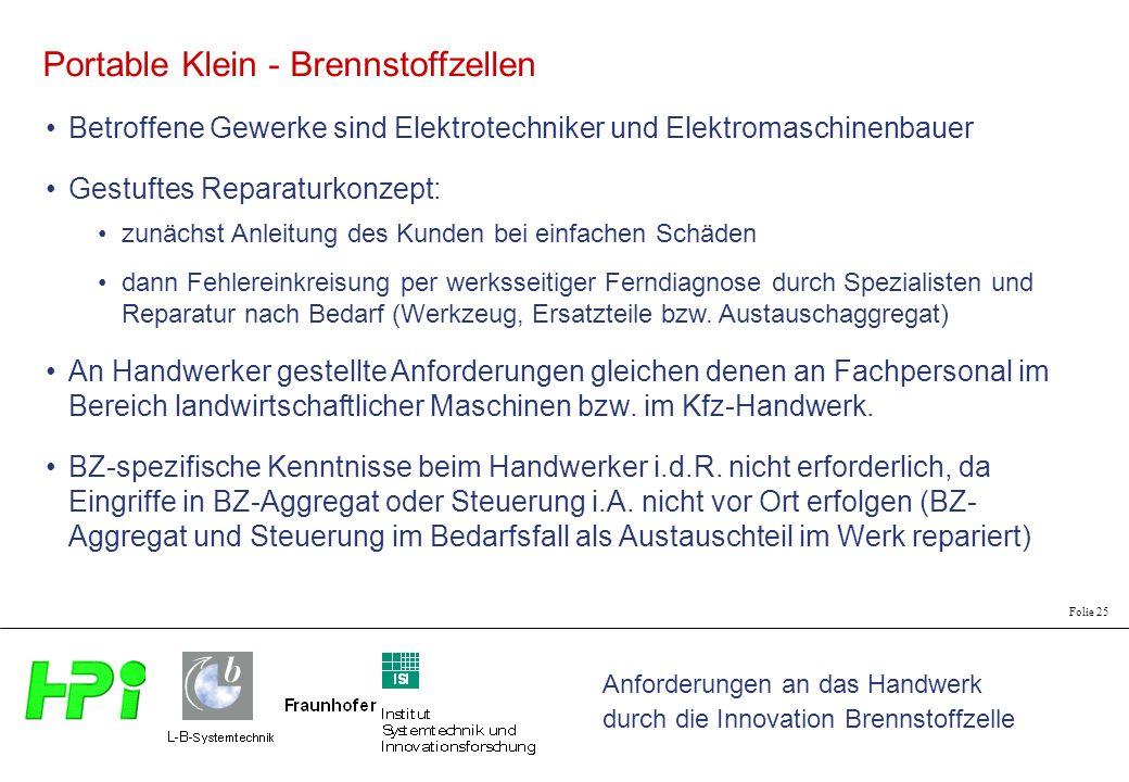 Anforderungen an das Handwerk durch die Innovation Brennstoffzelle Folie 25 Betroffene Gewerke sind Elektrotechniker und Elektromaschinenbauer Portabl
