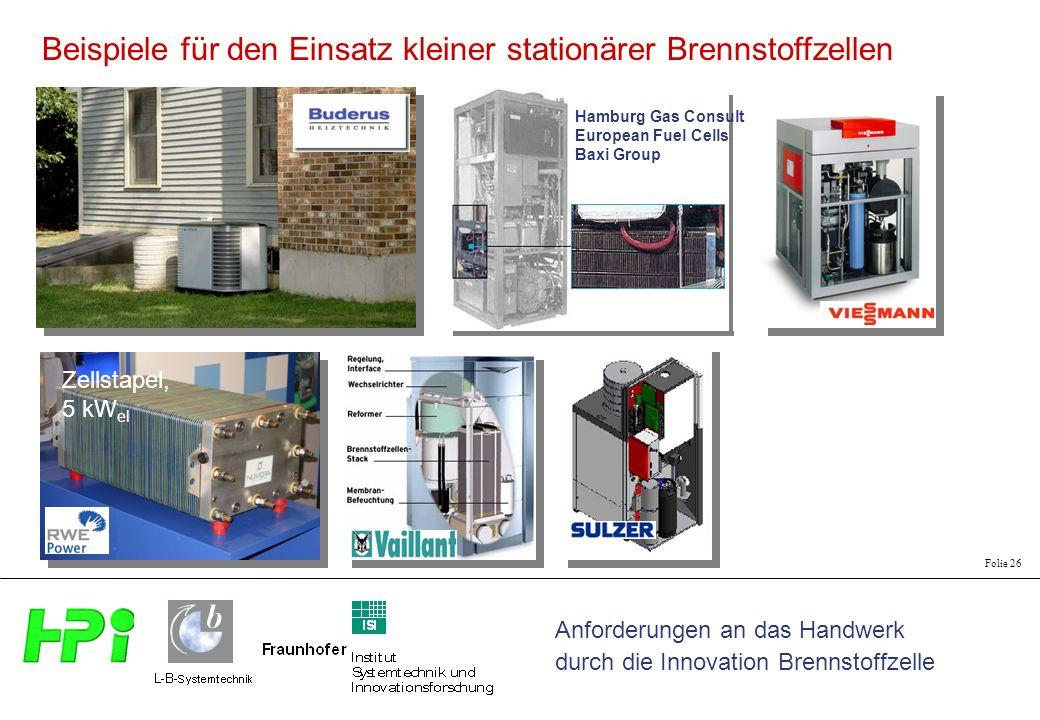 Anforderungen an das Handwerk durch die Innovation Brennstoffzelle Folie 26 Hamburg Gas Consult European Fuel Cells Baxi Group Zellstapel, 5 kW el Beispiele für den Einsatz kleiner stationärer Brennstoffzellen