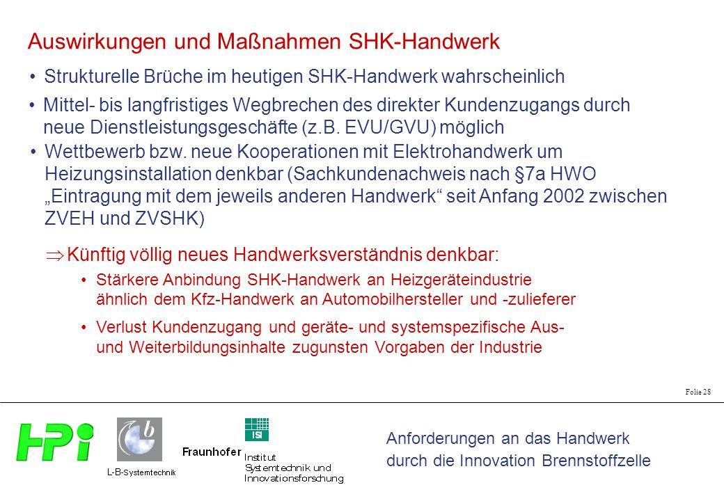 Anforderungen an das Handwerk durch die Innovation Brennstoffzelle Folie 28 Strukturelle Brüche im heutigen SHK-Handwerk wahrscheinlich Auswirkungen u