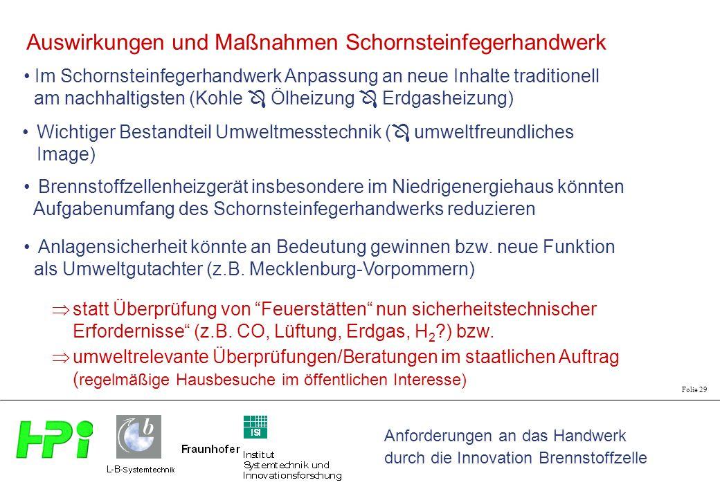 Anforderungen an das Handwerk durch die Innovation Brennstoffzelle Folie 29 Im Schornsteinfegerhandwerk Anpassung an neue Inhalte traditionell am nach