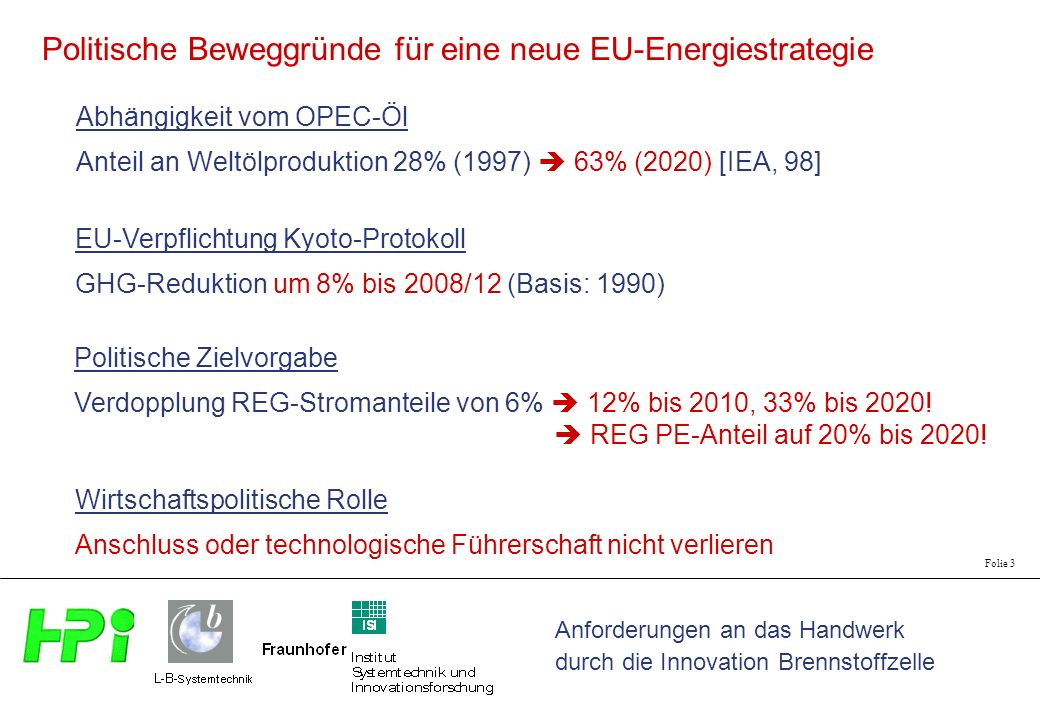 Anforderungen an das Handwerk durch die Innovation Brennstoffzelle Folie 3 Abhängigkeit vom OPEC-Öl Anteil an Weltölproduktion 28% (1997) 63% (2020) [IEA, 98] EU-Verpflichtung Kyoto-Protokoll GHG-Reduktion um 8% bis 2008/12 (Basis: 1990) Politische Zielvorgabe Verdopplung REG-Stromanteile von 6% 12% bis 2010, 33% bis 2020.