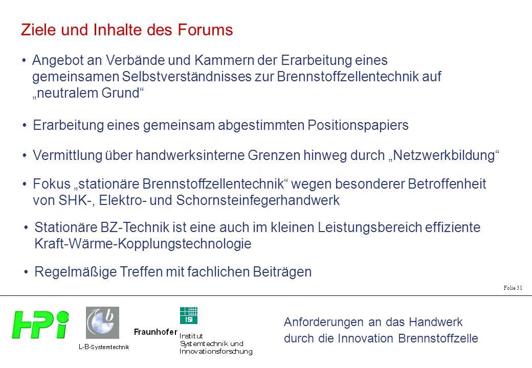 Anforderungen an das Handwerk durch die Innovation Brennstoffzelle Folie 31 Ziele und Inhalte des Forums Angebot an Verbände und Kammern der Erarbeitu