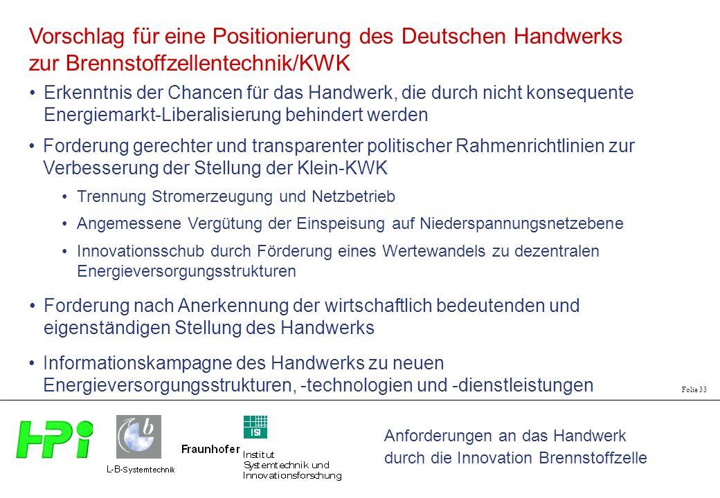 Anforderungen an das Handwerk durch die Innovation Brennstoffzelle Folie 33 Vorschlag für eine Positionierung des Deutschen Handwerks zur Brennstoffze