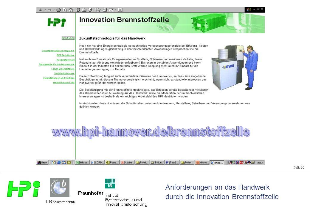 Anforderungen an das Handwerk durch die Innovation Brennstoffzelle Folie 35