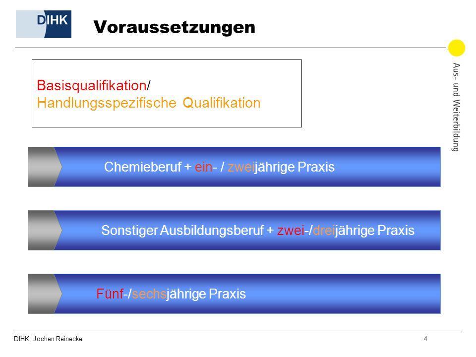 DIHK, Jochen Reinecke 4 Voraussetzungen Chemieberuf + ein- / zweijährige Praxis Sonstiger Ausbildungsberuf + zwei-/dreijährige Praxis Fünf-/sechsjähri