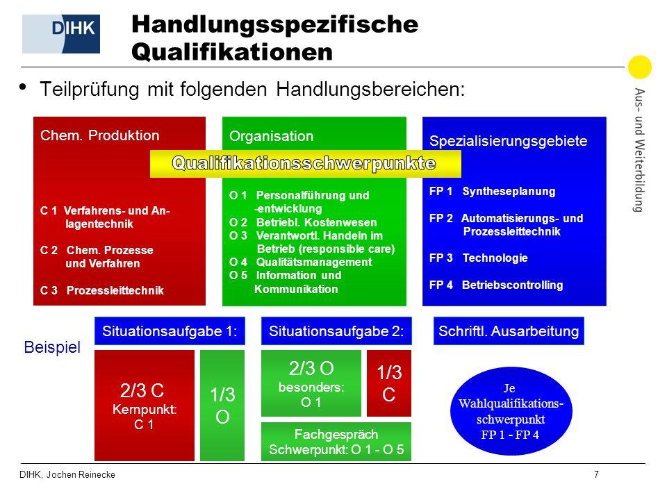 DIHK, Jochen Reinecke 7 Handlungsspezifische Qualifikationen Teilprüfung mit folgenden Handlungsbereichen: Chem. Produktion C 1 Verfahrens- und An- la