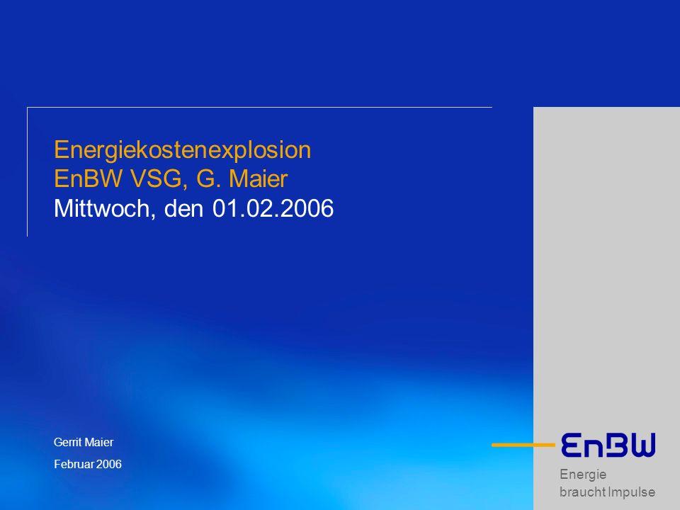 Energie braucht Impulse Energiekostenexplosion EnBW VSG, G. Maier Mittwoch, den 01.02.2006 Gerrit Maier Februar 2006