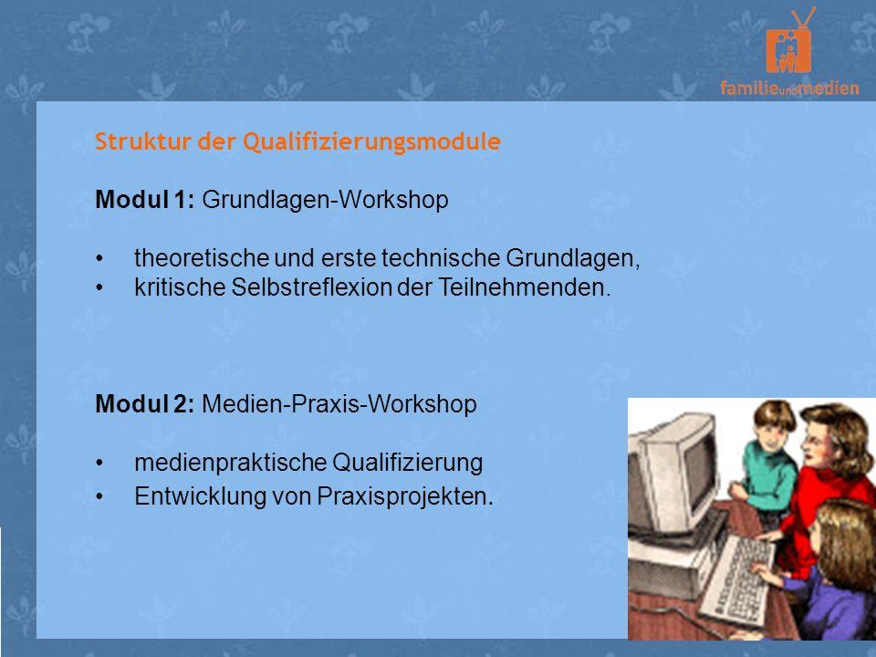 Struktur der Qualifizierungsmodule Modul 1: Grundlagen-Workshop theoretische und erste technische Grundlagen, kritische Selbstreflexion der Teilnehmen