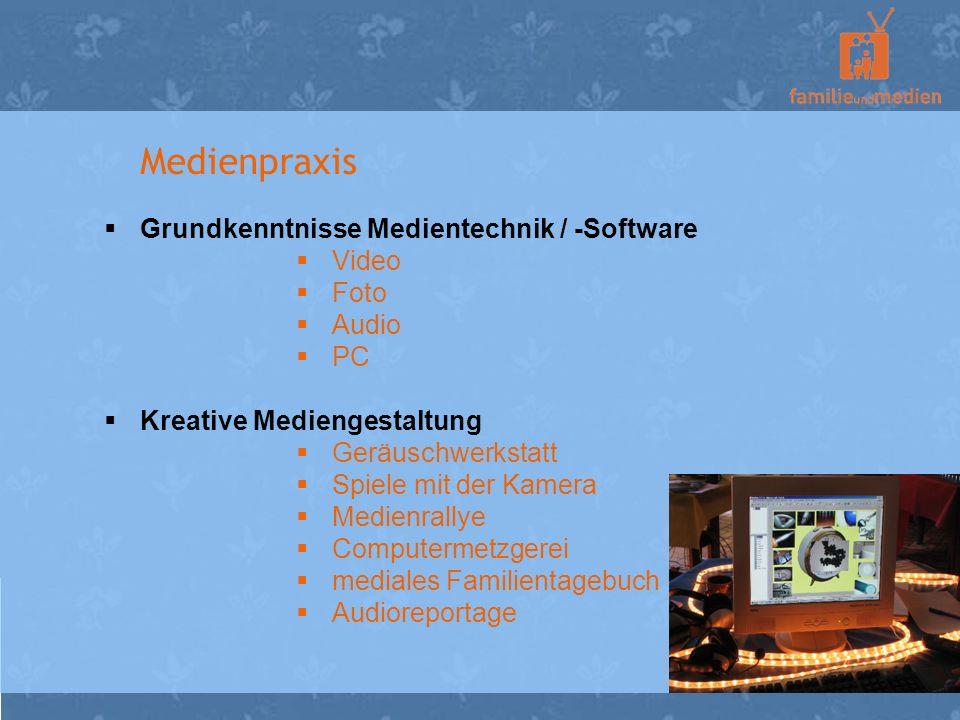 Medienpraxis Grundkenntnisse Medientechnik / -Software Video Foto Audio PC Kreative Mediengestaltung Geräuschwerkstatt Spiele mit der Kamera Medienral