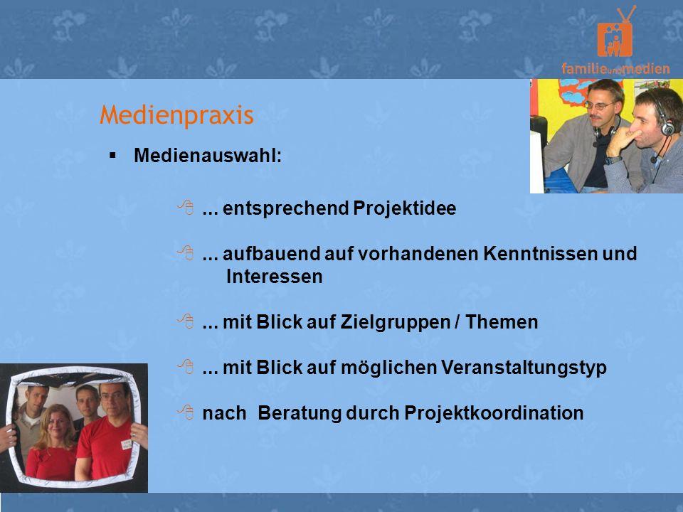 Medienpraxis Medienauswahl:... entsprechend Projektidee... aufbauend auf vorhandenen Kenntnissen und Interessen... mit Blick auf Zielgruppen / Themen.