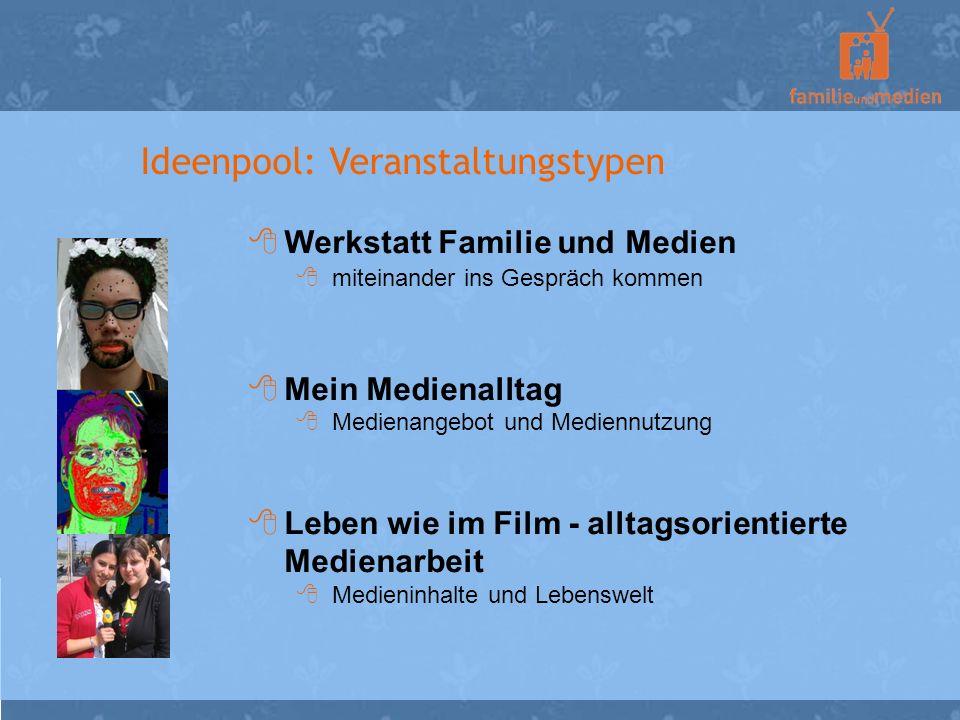 Ideenpool: Veranstaltungstypen Werkstatt Familie und Medien miteinander ins Gespräch kommen Mein Medienalltag Medienangebot und Mediennutzung Leben wi