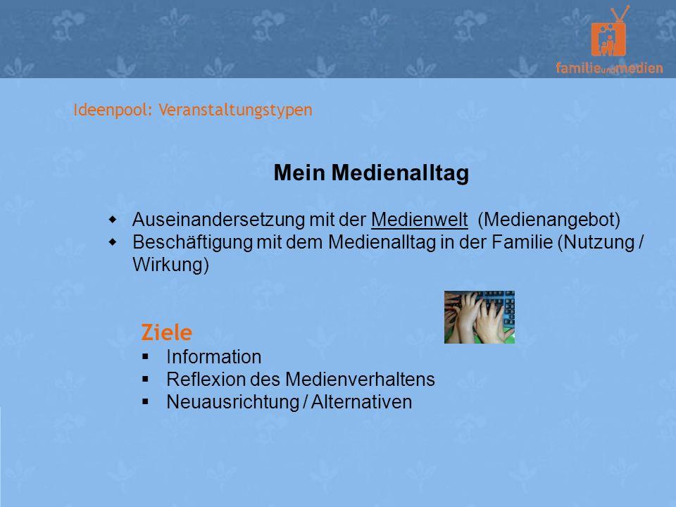 Ideenpool: Veranstaltungstypen Mein Medienalltag Auseinandersetzung mit der Medienwelt (Medienangebot) Beschäftigung mit dem Medienalltag in der Famil