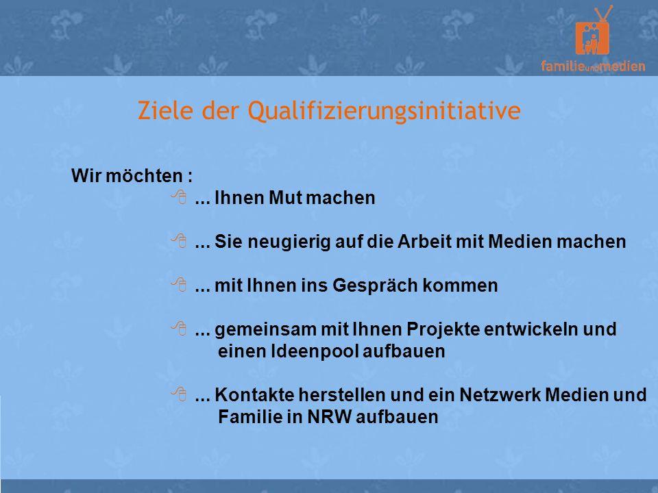 Ziele der Qualifizierungsinitiative Wir möchten :... Ihnen Mut machen... Sie neugierig auf die Arbeit mit Medien machen... mit Ihnen ins Gespräch komm