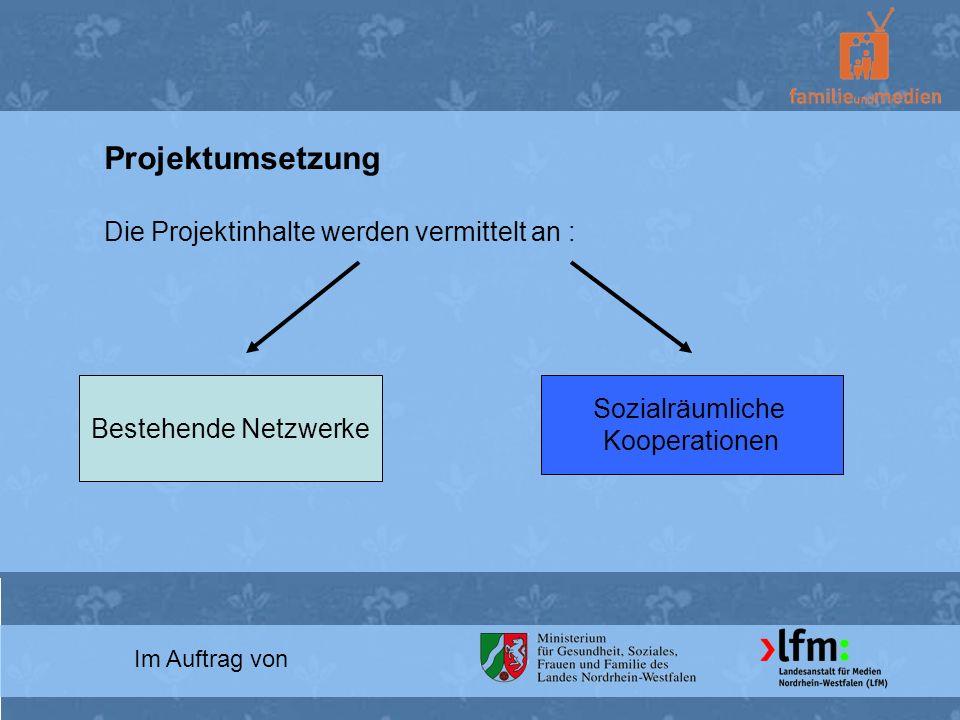 Im Auftrag von Projektumsetzung Die Projektinhalte werden vermittelt an : Bestehende Netzwerke Sozialräumliche Kooperationen