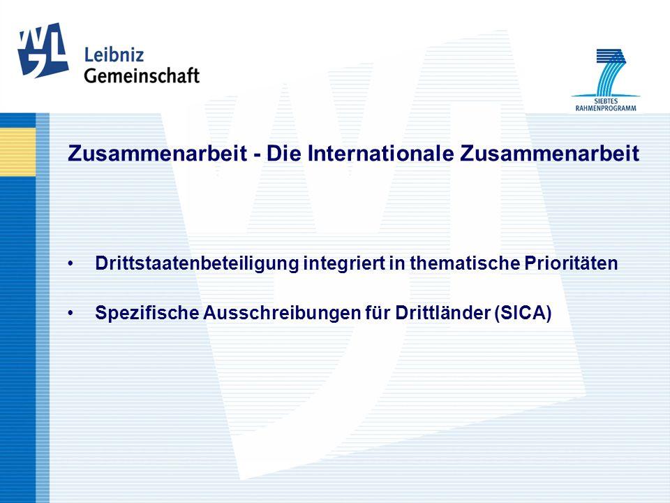 Zusammenarbeit - Die Internationale Zusammenarbeit Drittstaatenbeteiligung integriert in thematische Prioritäten Spezifische Ausschreibungen für Drittländer (SICA)