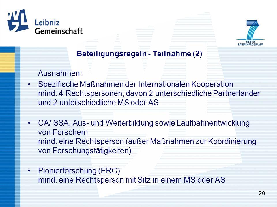 20 Beteiligungsregeln - Teilnahme (2) Ausnahmen: Spezifische Maßnahmen der Internationalen Kooperation mind.