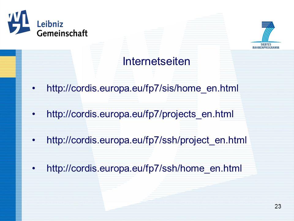 23 Internetseiten http://cordis.europa.eu/fp7/sis/home_en.html http://cordis.europa.eu/fp7/projects_en.html http://cordis.europa.eu/fp7/ssh/project_en.html http://cordis.europa.eu/fp7/ssh/home_en.html