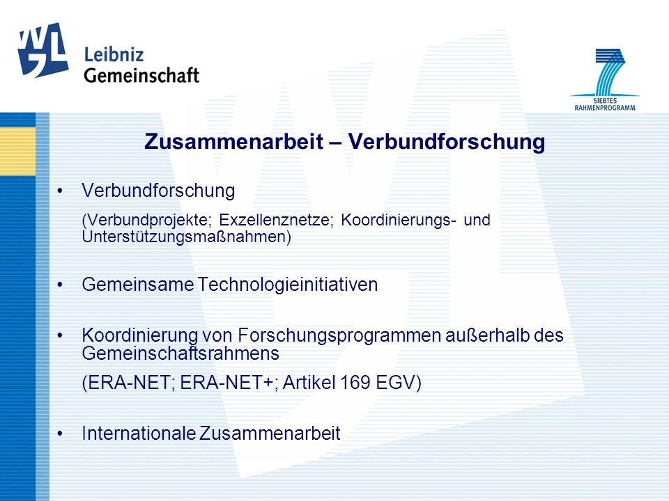 Zusammenarbeit – Verbundforschung Verbundforschung (Verbundprojekte; Exzellenznetze; Koordinierungs- und Unterstützungsmaßnahmen) Gemeinsame Technologieinitiativen Koordinierung von Forschungsprogrammen außerhalb des Gemeinschaftsrahmens (ERA-NET; ERA-NET+; Artikel 169 EGV) Internationale Zusammenarbeit