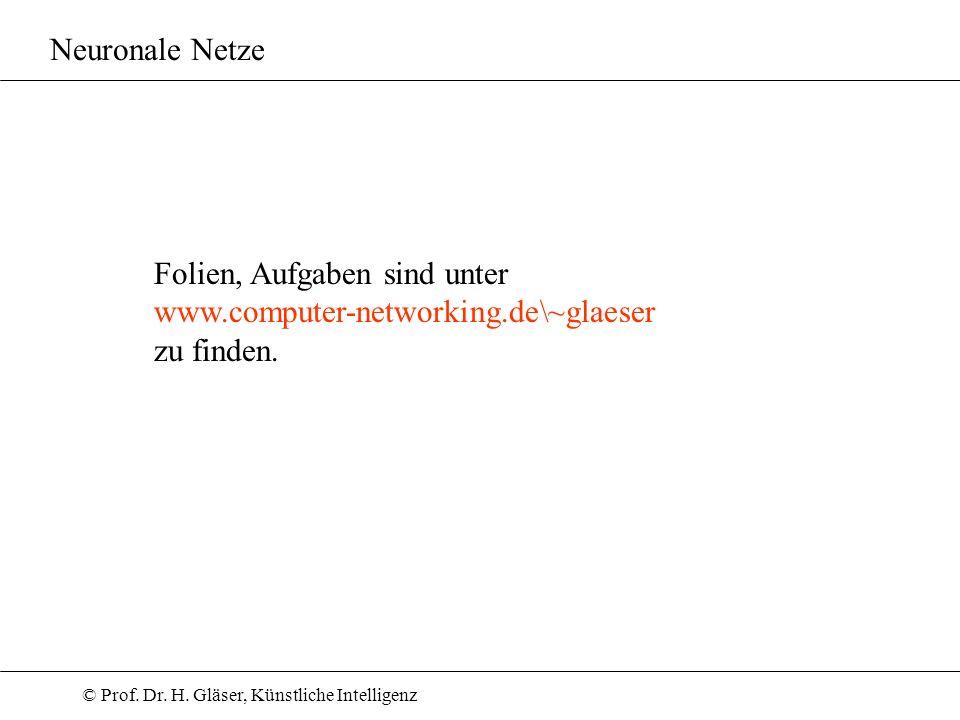 © Prof. Dr. H. Gläser, Künstliche Intelligenz Neuronale Netze Folien, Aufgaben sind unter www.computer-networking.de\~glaeser zu finden.