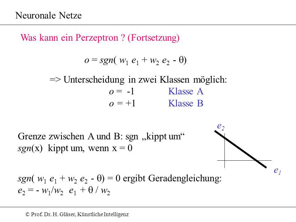 © Prof. Dr. H. Gläser, Künstliche Intelligenz Neuronale Netze o = sgn( w 1 e 1 + w 2 e 2 - ) => Unterscheidung in zwei Klassen möglich: o = -1 Klasse