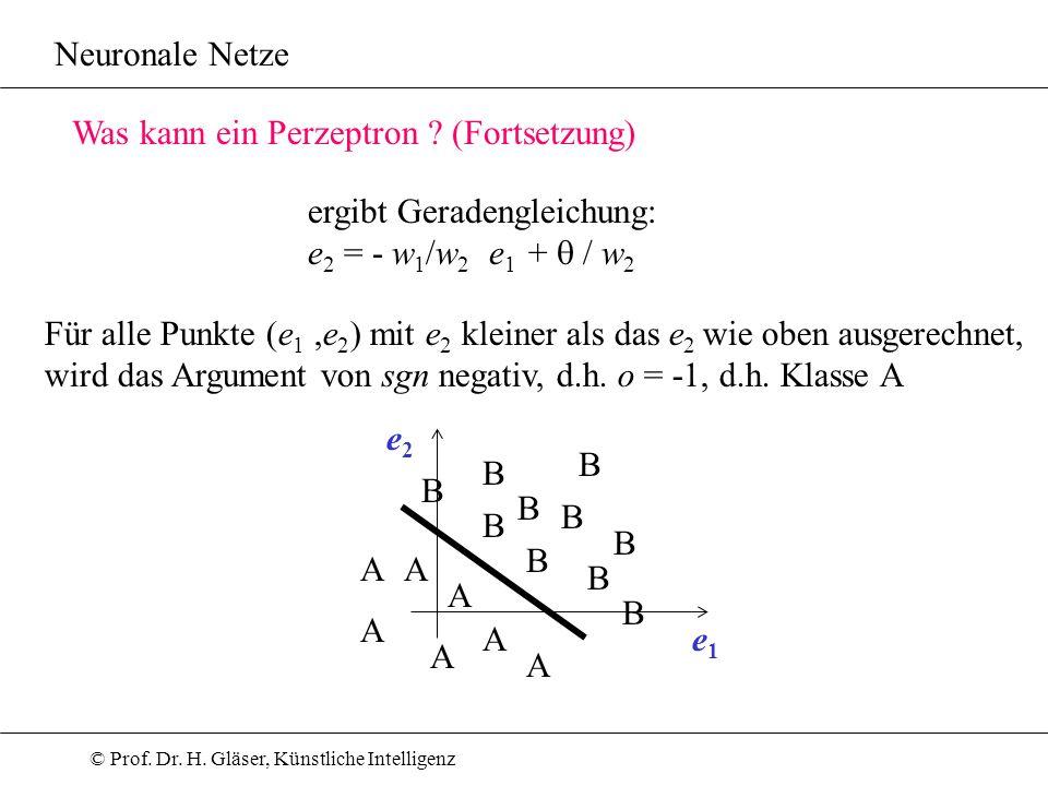© Prof. Dr. H. Gläser, Künstliche Intelligenz Neuronale Netze Was kann ein Perzeptron ? (Fortsetzung) ergibt Geradengleichung: e 2 = - w 1 /w 2 e 1 +