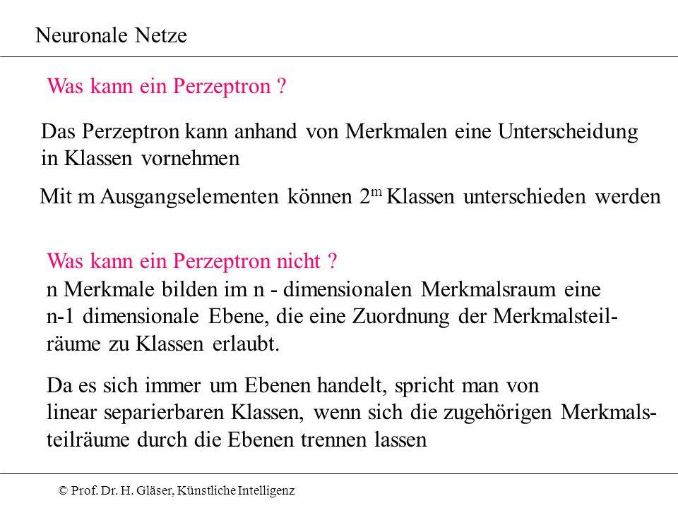 © Prof. Dr. H. Gläser, Künstliche Intelligenz Neuronale Netze Was kann ein Perzeptron ? Das Perzeptron kann anhand von Merkmalen eine Unterscheidung i