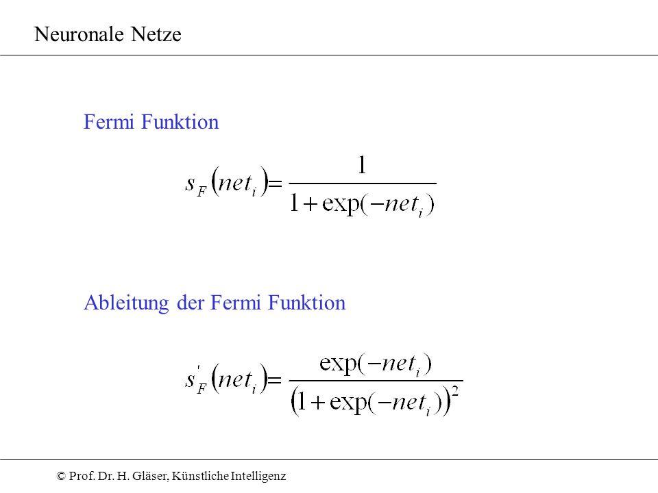 © Prof. Dr. H. Gläser, Künstliche Intelligenz Neuronale Netze Ableitung der Fermi Funktion Fermi Funktion