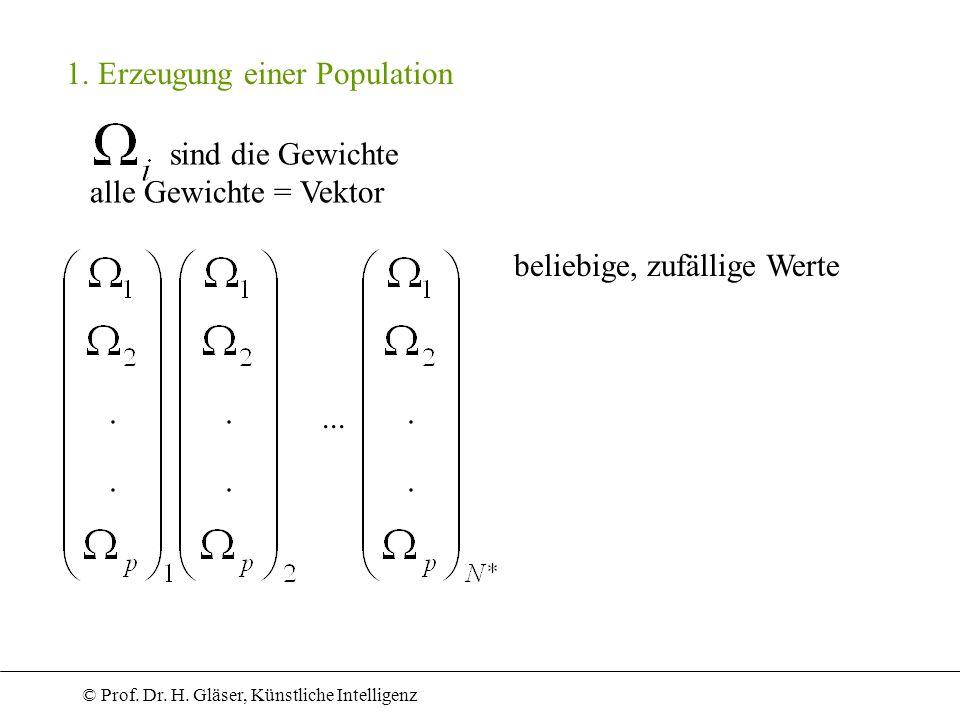 © Prof. Dr. H. Gläser, Künstliche Intelligenz 1. Erzeugung einer Population sind die Gewichte alle Gewichte = Vektor... beliebige, zufällige Werte