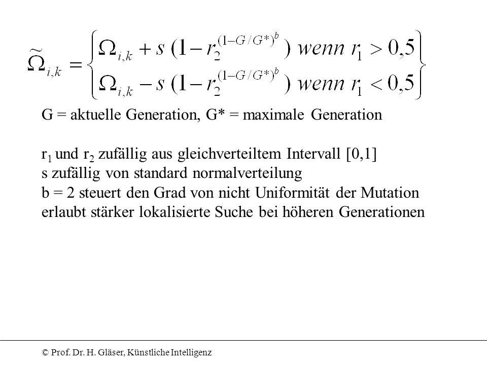 © Prof. Dr. H. Gläser, Künstliche Intelligenz G = aktuelle Generation, G* = maximale Generation r 1 und r 2 zufällig aus gleichverteiltem Intervall [0