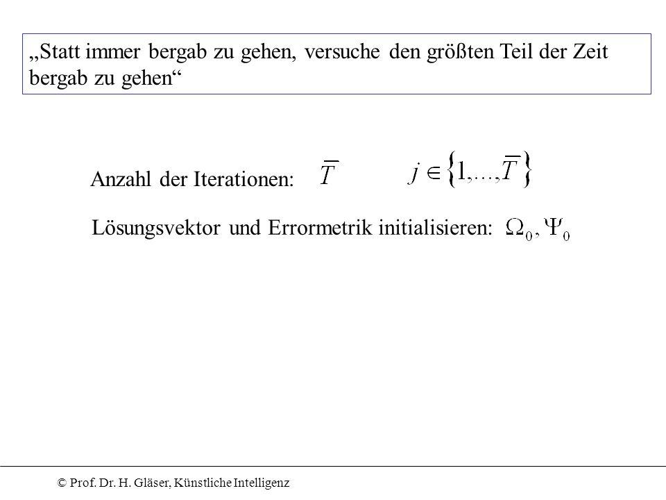 © Prof. Dr. H. Gläser, Künstliche Intelligenz Anzahl der Iterationen: Lösungsvektor und Errormetrik initialisieren: Statt immer bergab zu gehen, versu